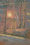 Industrial Pastels Originals - Fill Point by Donald Maier