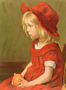 Child Portrait Prints - Fillette a lorange Print by Marie Louise Catherine Breslau