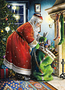 Santa Claus Posters - Filling the Stockings Poster by Lynn Bywaters