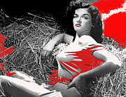Hurrell Photo Framed Prints - Film Homage Jane Russell The Outlaw 1943 publicity photo Photographer George Hurrell 2012 Framed Print by David Lee Guss