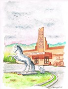 John Wayne Drawings Prints - Film-Museum-in-Lone-Pine-CA Print by Carlos G Groppa