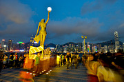 Tsim Sha Tsui Prints - Film Statue at Avenue of Stars Print by Hisao Mogi