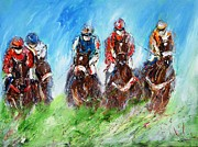 Jockey Paintings - Final Fence  by Mary Cahalan Lee