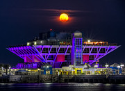 Purple Building Framed Prints - Final Moon over the Pier Framed Print by Marvin Spates