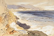 Ocean Shore Drawings Prints - Finale Print by Edward Lear