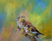 Impasto Oil Paintings - Finches by Michael Creese