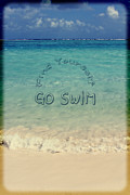 Find Yourself Go Swim Tropical Beach Motivational Quote Print by Beverly Claire Kaiya