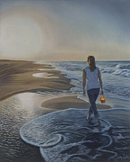 Seashells Paintings - Finding Her Treasure by Holly Kallie