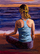 Blue Purple Paintings - Finding Peace Sukhasana by Mary Giacomini