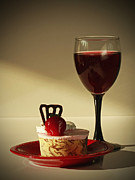 Red Wine Prints Photo Posters - Fine Red Wine and Strawberry Marble Torte Dessert Poster by Inspired Nature Photography By Shelley Myke
