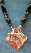 Stamped Jewelry - Fine Silver Copper Toggle Pendant Necklace by Dyan  Johnson