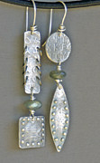 Labradorite Prints - Fine Silver Mismatched Earrings Print by Mirinda Kossoff