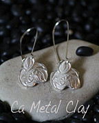 Metal Jewelry Metal Prints - Fine Silver Trillium Earrings Metal Print by Carrie  Godwin