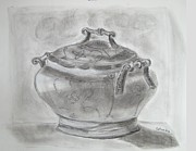 Soup Drawings Framed Prints - Fine Tureen  Framed Print by Galina Landes