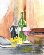 Wine Bottle Paintings - Fine Vintage by Elvira Ingram