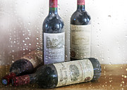 Glass Bottle Prints - Fine Wine on a Rainy Afternoon Print by Georgia Fowler