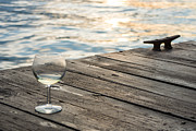 Snifter Posters - Finger lakes wine tasting - Wine Glass on the Dock Poster by Photographic Arts And Design Studio