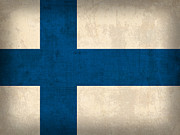 Helsinki Finland Prints - Finland Flag Vintage Distressed Finish Print by Design Turnpike