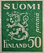 Old Stamps Framed Prints - Finland Stamp - Circa 1931 Framed Print by Bill Owen