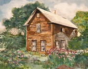 Abandoned Houses Painting Posters - Finlayson Old House Poster by Susan Crossman Buscho