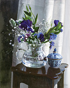 Interior Still Life Paintings - Fiori Blu E Sgabello by Danka Weitzen