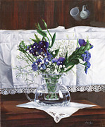 Interior Still Life Painting Metal Prints - Fiori Pizzi E Tazzine Metal Print by Danka Weitzen