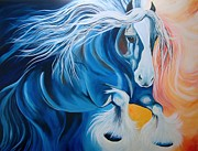 Friesian Posters - Fire and Blue Ice Poster by Alisha Lang