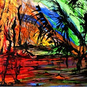 Storm Drawings - Fire and Flood by Helen Syron