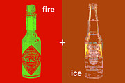 Beer Bottle Posters - Fire and Ice 20130405 Poster by Wingsdomain Art and Photography