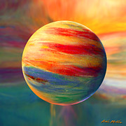 Abstract Landscape Art - Fire and Ice Ball  by Robin Moline