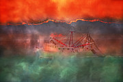 Shrimping Boat Posters - Fire and Ice Misty Morning Poster by Betsy A Cutler East Coast Barrier Islands