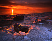 Sunset; Ice Prints - Fire and Ice Print by Ray Mathis