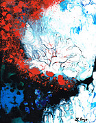 Blue And White Painting Prints - Fire And Ice Print by Sharon Cummings
