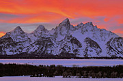 Grand Tetons Prints - Fire and Ice Print by Stephen  Vecchiotti