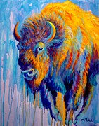 Bison Art - Fire and Rain by Theresa Paden