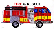 Boy And Girl Drawings - Fire And Rescue  by Mark Moore