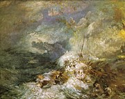Romanticism Posters - Fire at Sea 1835 Poster by Joseph Mallord William Turner