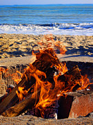 Firepit Posters - Fire at the Beach Poster by Mariola Bitner