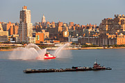 New York City Skyline Photo Framed Prints - Fire Boat and Manhattan Skyline V Framed Print by Clarence Holmes