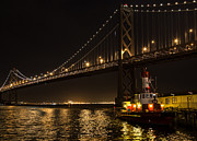 Bay Bridge Photos - Fire Boat at Night by John Daly