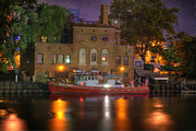 Brick Building Prints - Fire Boat on Cuyahoga River Print by Juli Scalzi