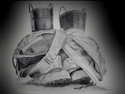 Protective Gear Drawings Posters - Fire Boots Vignette Poster by George Carl