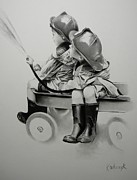 Wagon Drawings Framed Prints - Fire Boys Framed Print by Matt Kowalczyk