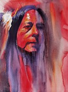 Native American Watercolor Paintings - Fire Dancer by Robert Hooper