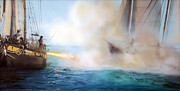 Pirate Ship Paintings - Fire by Donna Lee Nyzio