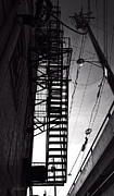 Building. Home Prints - Fire Escape and Wires Print by Bob Orsillo