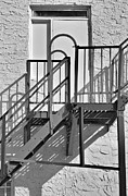 Stone Steps Prints - Fire Escape In Black And White Print by Rudy Umans