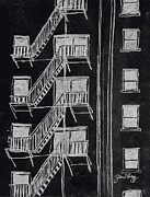 Skyscraper Mixed Media - Fire Escape Negative Image by Janel Bragg
