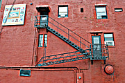 Escape Photo Originals - Fire Escape On Red by Tim Hauser