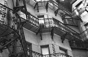 Boston Ma Prints - Fire Escapes - Hemmingway Street  Print by Harold E McCray